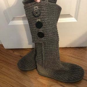 Gray Tall Cardy Sweater Ugg Boots Gray 6